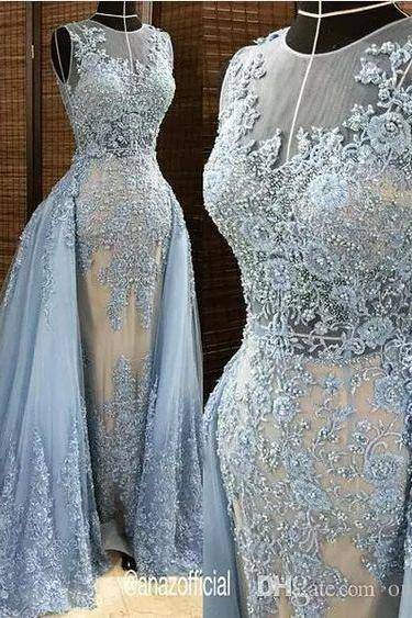 Gray Pearls Beaded Prom Dress,Lace Appliques Evening Dresses,With Tulle Detachable Overskirt Illusion Prom Dresses,Blue Gray Pearls Beaded Lace Appliques Celebrity Gown Sexy Plus Size Prom Dresses,
