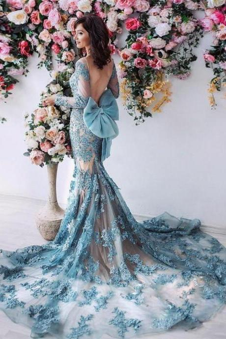 Sexy Backless Prom Dress,Mermaid Prom Dresses,With Long Sleeves Lace Appliqued Prom Dresses,Bow Formal Evening Wear Court Train