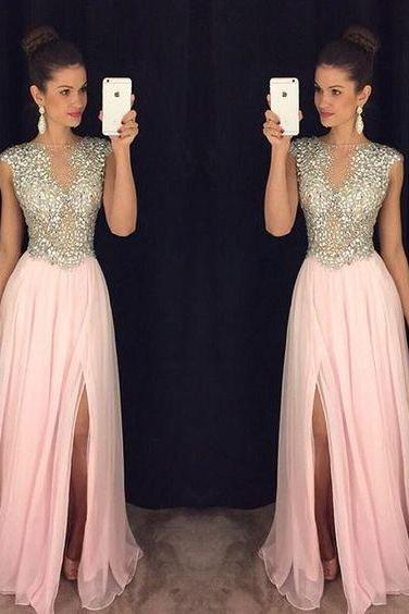 Split Prom Dresses,Beaded Evening Gowns,Sexy Formal Dresses,Sparkle Pink Prom Dresses,Split Evening Gown,Slit Evening Dress,Sparkle Prom Gowns