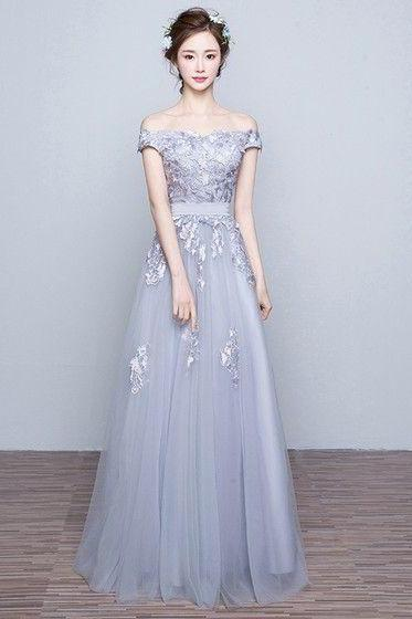 Gray Prom Dresses,off the shoulder Prom Dress,Gray Prom Dresses,Formal Gown,Evening Gowns,Modest Party Dress,Prom Gown For Teens