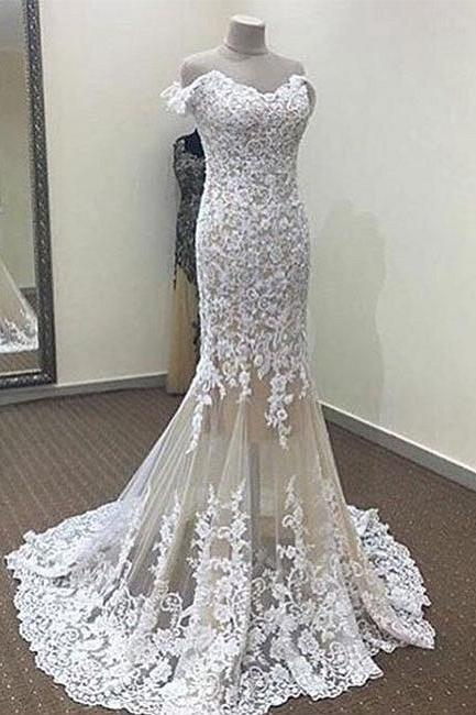 White Mermaid Wedding Dress,Off-the-shoulder Wedding Dresses,Long Lace Bridal Dresses