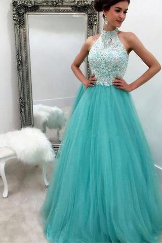 elegant halter prom dress,A-line blue tulle long prom dresses