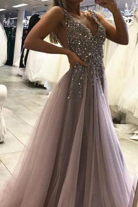 Side Split Prom Dress,Tulle Prom Dress,Sexy Prom Dress,Sleeveless Prom Dresses,Tulle Evening Dress,Long Party Dress,Beading Prom Dresses,A Line Prom Dress