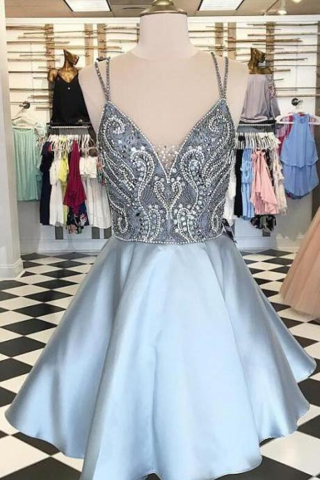 Silver Homecoming Dress,Backless Homecoming Dresses,Spaghetti Straps Homecoming Dress,Short Homecoming Dress,A Line Prom Dresses,Sexy Homecoming Dresses,Beaded Homecoming Dress,Beading Prom Dresses