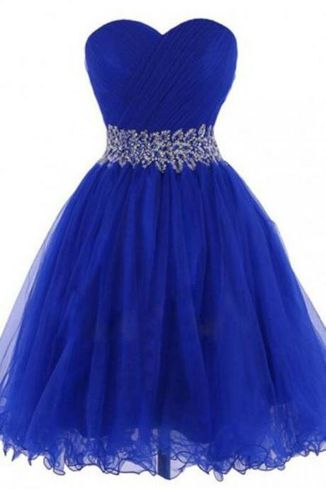 Cheap Homecoming Dresses,Tulle Homecoming Dress,Fashion Short Homecoming Dress,Sweetheart Prom Dresses,Royal Blue Homecoming Dresses,Beading Homecoming Dresses,Royal Blue Prom Dress