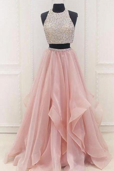 Two pieces prom dresses,Pink Prom Dress,Cheap Tulle Prom Dress,sequins prom dress,A-line prom dresses,beading prom dresses, long evening dresses,graduation dresses,prom dress