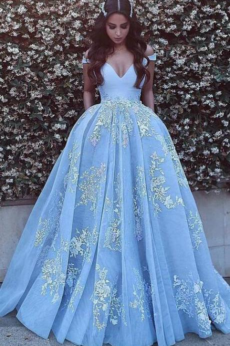 Beauty Bule Prom Dresses,Sexy Prom Dress,Off-the-shoulder Prom Dress,Ball Gown Prom Dresses,Formal Evening Dresses, Blue Prom Dresses With Lace Appliques,Long Prom Dresses With Pocket,Quinceanera Dresses