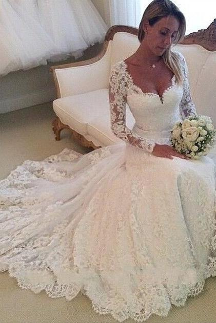 A Line Princess Wedding Dress,Cheap Wedding Dress, Lace Wedding Dresses,Long Sleeves Bridal Wedding Dress,Cheap Custom Made Beach Bridal Wedding Gowns