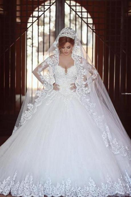 Princess Sweetheart Wedding Gowns,Long Sleeves Wedding Dress, White Lace Wedding Dresses, Custom Made Bridal Wedding Dress ,High Quality Bodice Fluffy Skirt Bridal Gown