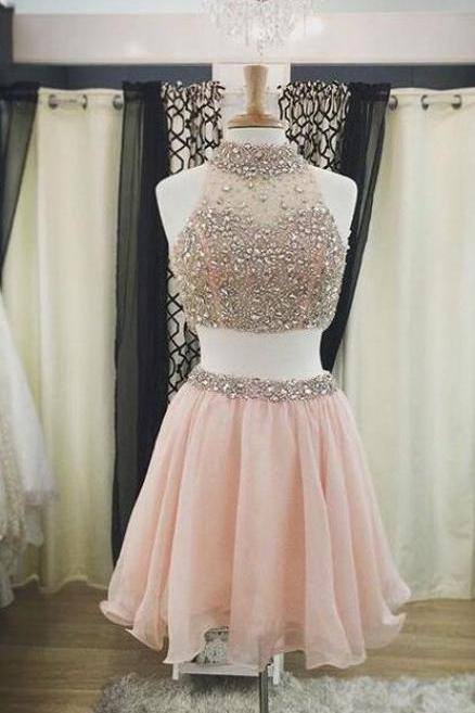 High Neck Skin Pink Homecoming Dresses,Beaded Crystals Short Prom Dresses ,Two Pieces Short Homecoming Dresses, 2 Pieces Prom Gowns,Cocktail Dresses,Sexy Party Dress