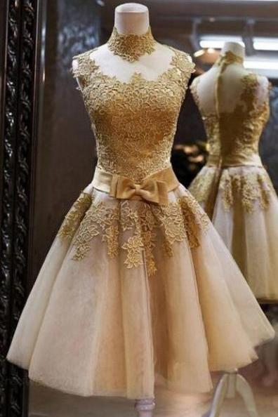 Short Homecoming Dress,Gold Lace Champagne Prom Dress,Homecoming Dresses ,Tulle Short Prom Dresses,Bow Belt Wedding Party Dress,High Neck Short Prom Gowns,Cheap Prom Dresses