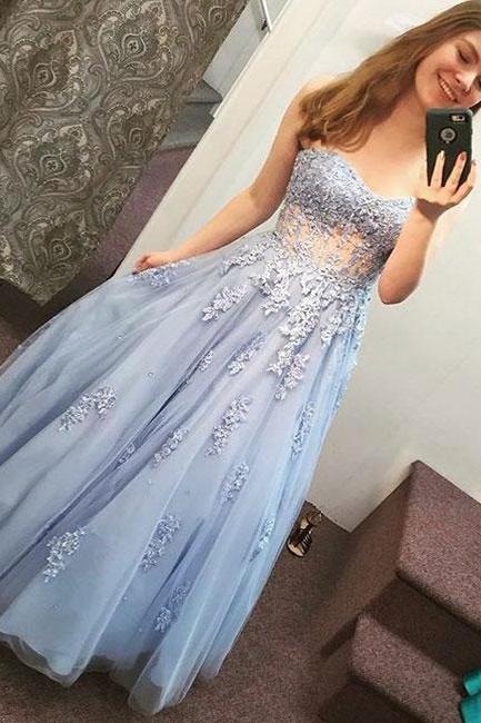 Blue lace prom dresses,tulle long prom dress, sweetheart evening dress