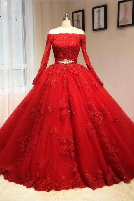 lace tulle long wedding dress,red evening dress,Bridal dresses