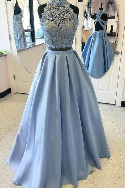 Two Pieces Prom Dress, Blue Lace Long Prom Dress, Sexy Prom Dress, A-line Prom Dress, Backless Prom Party Dress, Sexy Evening Dress, 2 Pieces Prom Dresses, Senior Prom Dress