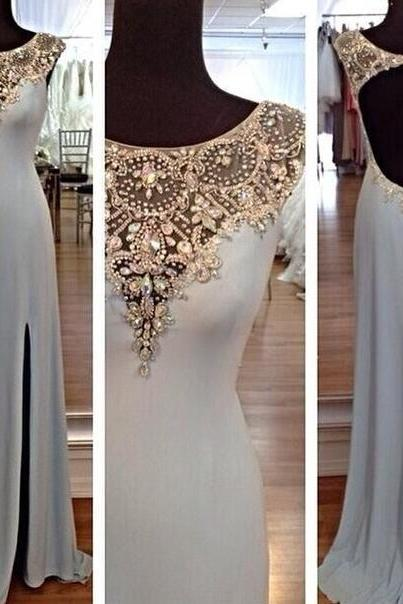 Open Back Long Prom Dress, Hot sales Gray Chiffon Prom Dress, Cheap Prom Dress, Crystal Beadings Sheath See Through Evening Dress,Custom Made Front Split Prom Dresses,Graduation Dress,Silver Evening Gown