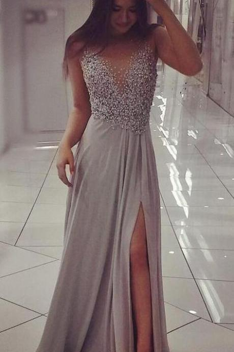 Charming Gray Prom Dress,Chiffon Prom Dress, Long Prom Dresses,Appliques Prom Dresses ,Side Slit Evening Dress,Beading Prom Dresses,A Line Prom Dresses