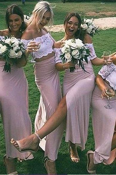 New Arrival Two Piece Lace Bridesmaid Dress,Slit Side Prom Dress,Off the Shoulder Party Dress,Pink Homecoming Dress