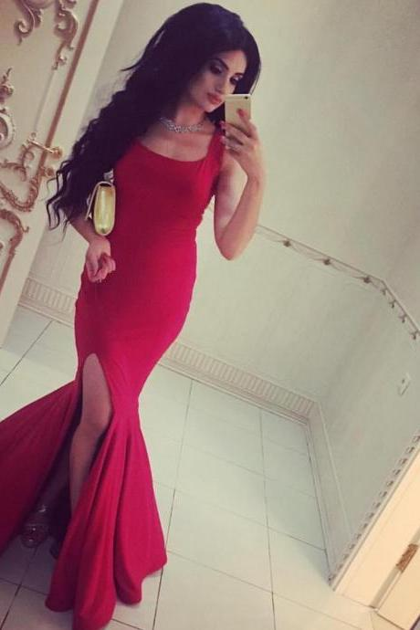 New Arrival Prom Dress,Modest Prom Dress,long red jersey prom dress,elegant formal dress,slit prom dress,red evening gowns,prom dress