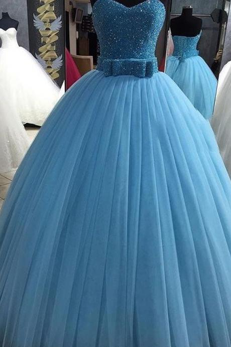 New Arrival Prom Dress,Modest Prom Dress,Sparkly sequin beaded sweetheart bow sashes tulle ball gown quinceanera dresses