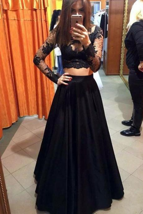 New Arrival Prom Dress,Modest Prom Dress,long sleeves prom dresses,black prom dress,black evening gowns,two piece prom dresses,prom gowns