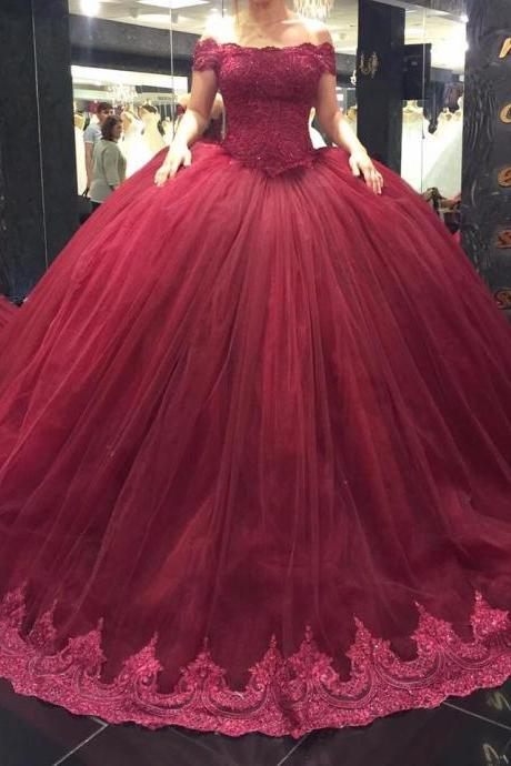 New Arrival wedding Dress,Modest Prom Dress,lace sweetheart pleated tulle ball gowns wedding dress,burgundy bridal gowns