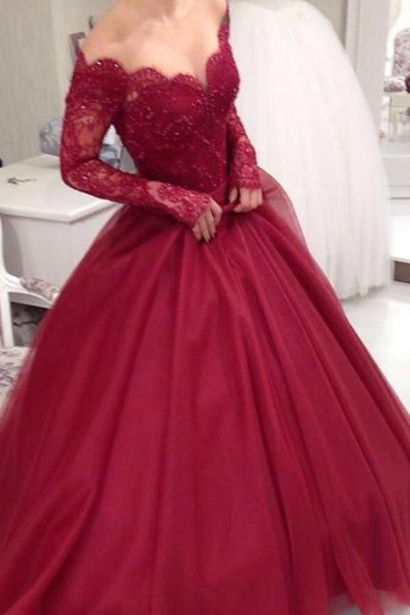 New Arrival Prom Dress,Modest Prom Dress,Long Sleeves Burgundy Ball Gowns Wedding Dresses,Elegant Party Dress