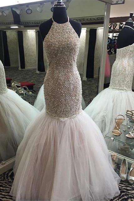 New Arrival Prom Dress,Modest Prom Dress,Pearl Beaded Prom Dresses,Mermaid Prom Gowns,Prom Dresses Long,Halter Evening Dress,Pageant Gown