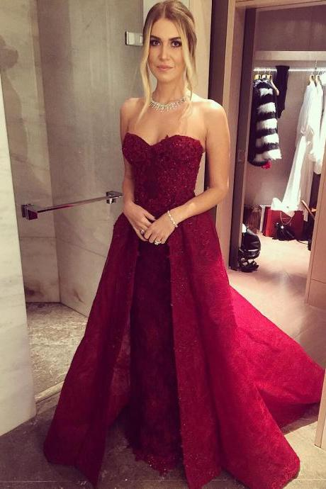 New Arrival Prom Dress,Modest Prom Dress,lace sweetheart long burgundy evening gowns ,prom dress detachable skirts