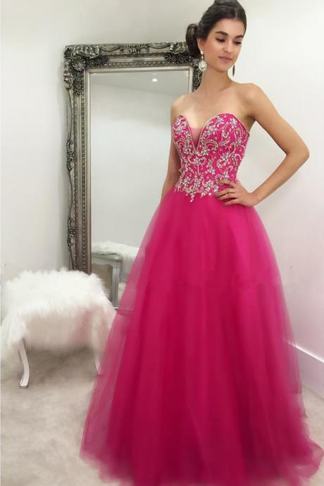 Modest Prom Dress,crystal beaded sweetheart prom dress,long fuchsia ball gowns prom dresses,quinceanera gowns