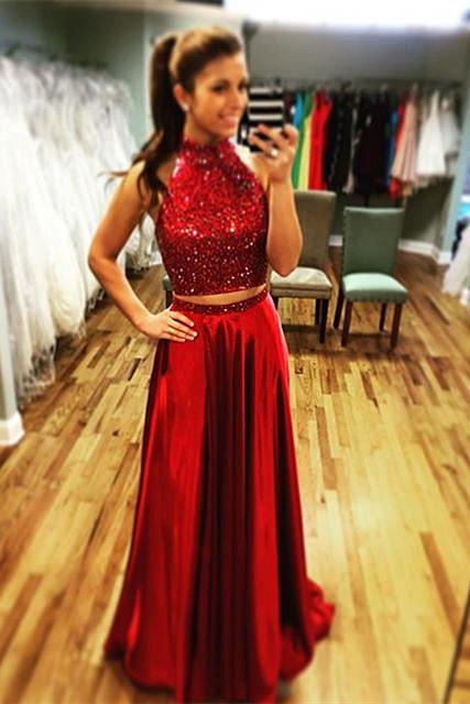 Halter Prom Dress,Burgundy Prom Dresses,Long Prom Gowns ,two piece prom dresses