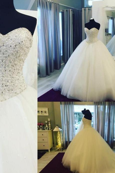 Wedding Dresses, Bridal Gown,Fully Crystal Beaded Wedding Dress,Sweetheart Ball Gowns Wedding Dress