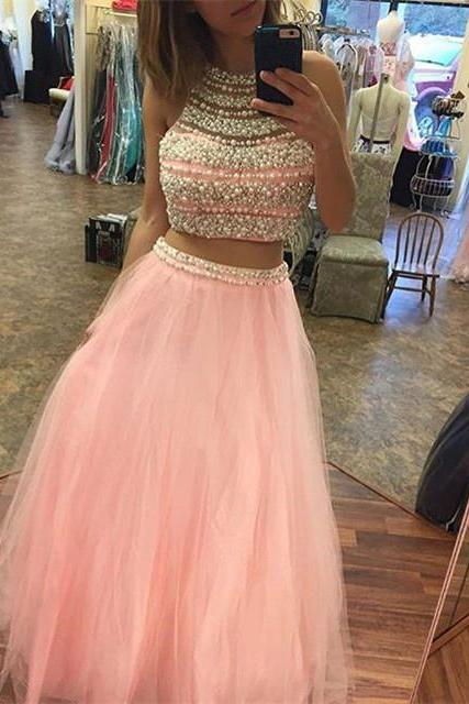 long chiffon prom dress,pink mermaid Evening dresses,two piece prom gowns with pearl beaded,sexy slit prom dress