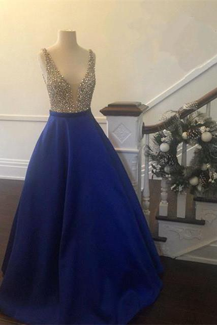 New Arrival Prom Dress,Modest Prom Dress,long satin v neck royal blue prom dresses ball gowns