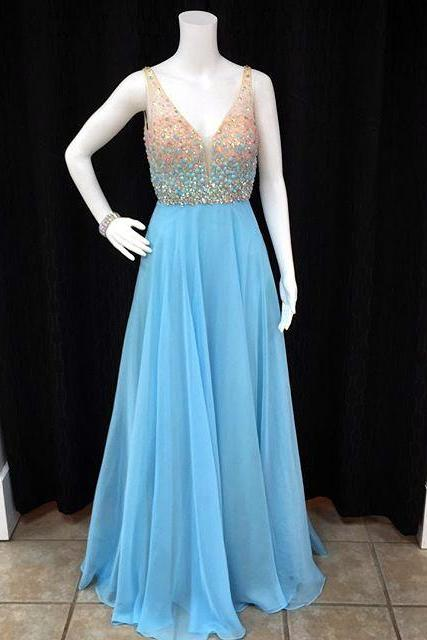 long chiffon prom dress,v neck crystal evening dress,beaded prom dresses, floor length prom dresses