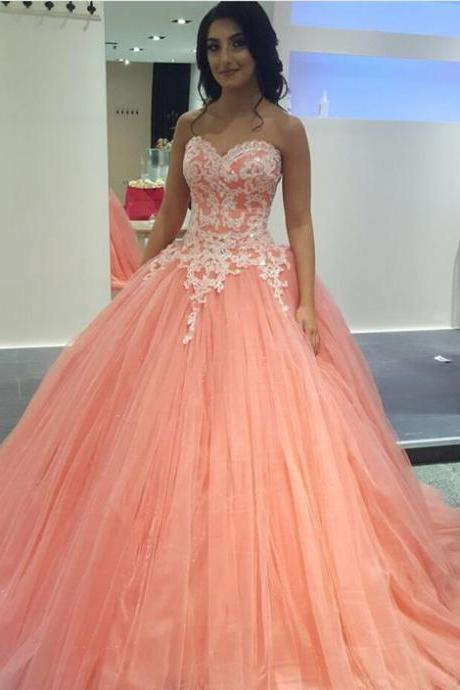 Long Floor Length Prom Dress,ball gown quinceanera dresses, Evening Dresses ,Glamorous Prom Dress, blush pink Graduaction Dresses