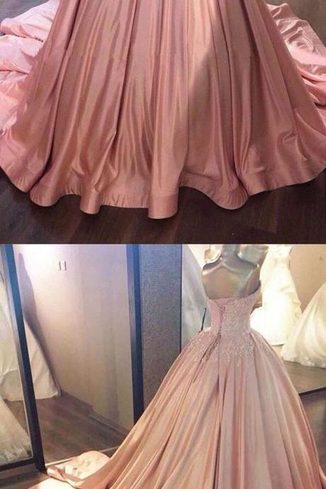 Pink Sweetheart Wedding Dress,Lace Long Ball Gowns ,Prom Dresses,sweet 16 Bridal dresses