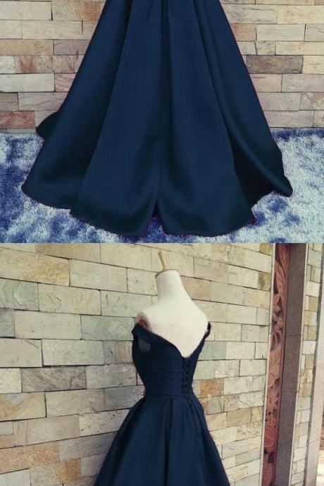 Navy Off Shoulder Evening Prom dresses, A line Long prom dress, Custom Simple prom dress, Cheap prom dress, prom dress