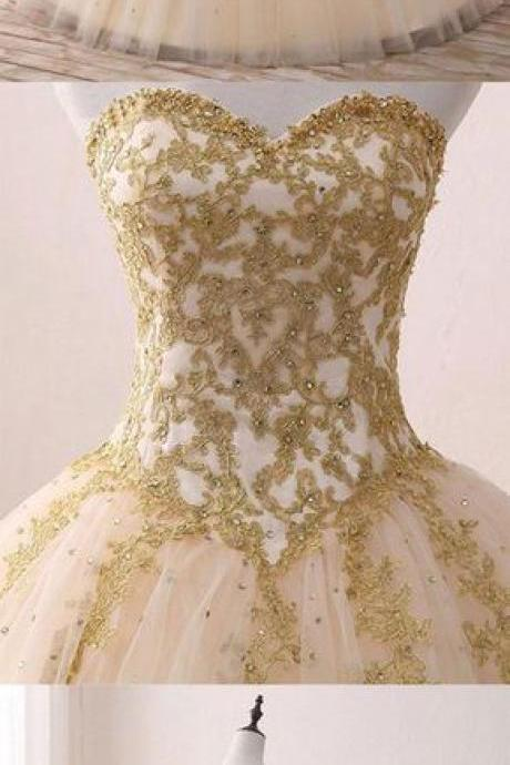 champagne sweetheart wedding dress,neck tulle wedding dresses,lace long bridal gown, sweet 16 dress bridal dresses