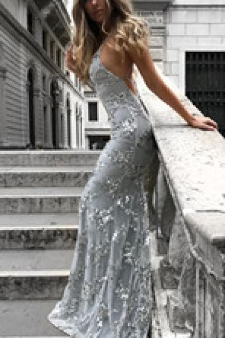 Long Formal Dresses,Backless Prom Dresses, Party Dresses Backless Evening Dresses Silver Prom Gown