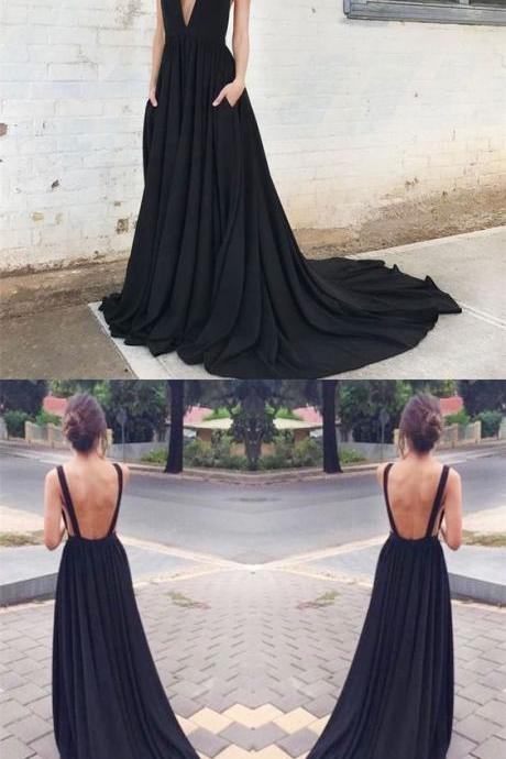 Prom dresses, deep v neck party dresses, sexy backless evening dresses, cheap prom dresses with train
