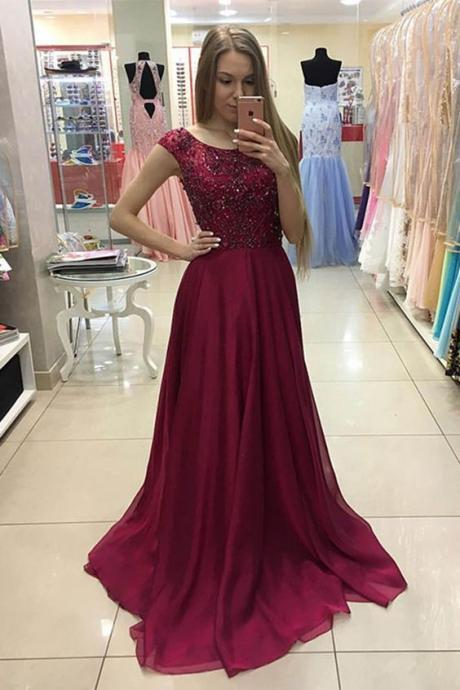 chiffon sequins prom dress, modest prom dresses, long dress for teens