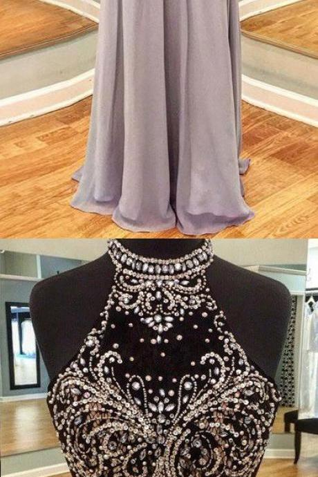 Halter Beaded A-line Floor-Length Prom Dress, Evening Dress Featuring Open Back