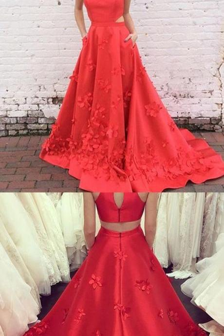 High Neck Prom Dress,Keyhole Back Evening Dresses,Long Prom Dresses,Red Party Dresses,Satin Prom Dresses,Appliques Formal Dresses,Prom Dresses