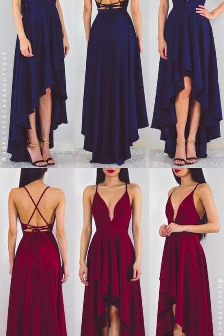 prom dress, long chiffon prom dress, navy blue prom dress, red prom dress, party dress, high low prom dress