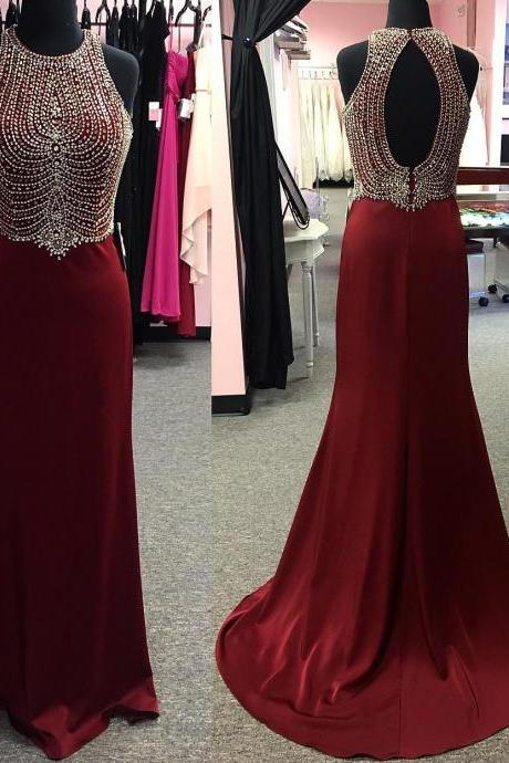 high neck prom dresses,keyhole back dress,burgundy prom dresses,mermaid evening gowns,mermaid prom dresses ,formal gowns