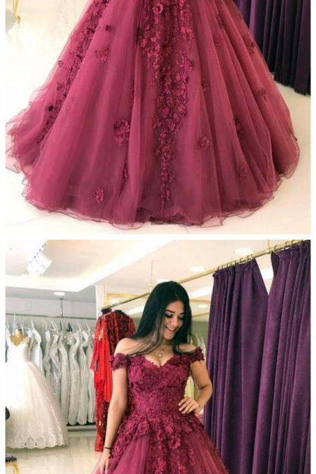 Lace Appliques Prom Dresses, Ball Gowns,Tulle Quinceanera Dress Prom Dress