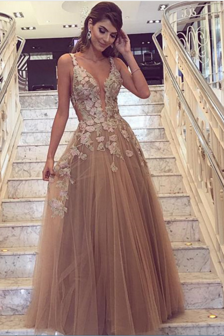 Cheap prom dresses ,Champagne Prom Dress, Handmade Flowers Prom Dress, Deep V Neck Prom Dress, A Line Prom Dress, Tulle Prom Dress