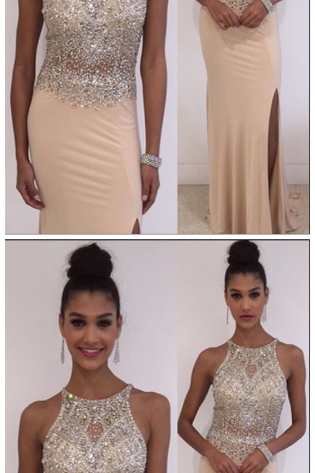 Crystal Sleeveless Prom Dresses,Side Slit Prom Dress,Floor Length Party Gowns,Prom Dresses Evening Dress