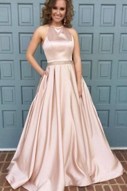 Halter Neck Prom Dress,long Satin Prom Dresses, Crystals Women Dresses,Prom Dresses, Evening Dress