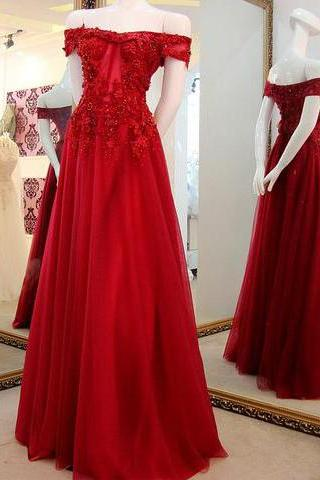 Off the Shoulder Prom Gown 2018,Applique Lace Long Prom Dresses,Tulle Party Dresses,Dark Red Formal Dresses,Evening Dress